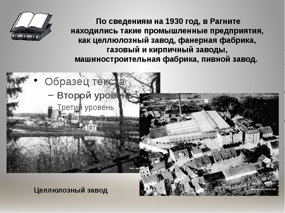 По сведениям на 1930 год, в Рагните находились такие промышленные предприяти...