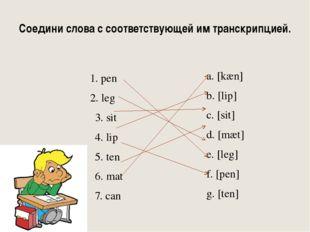 Соедини слова с соответствующей им транскрипцией. 1. pen 2. leg 3. sit 4. lip