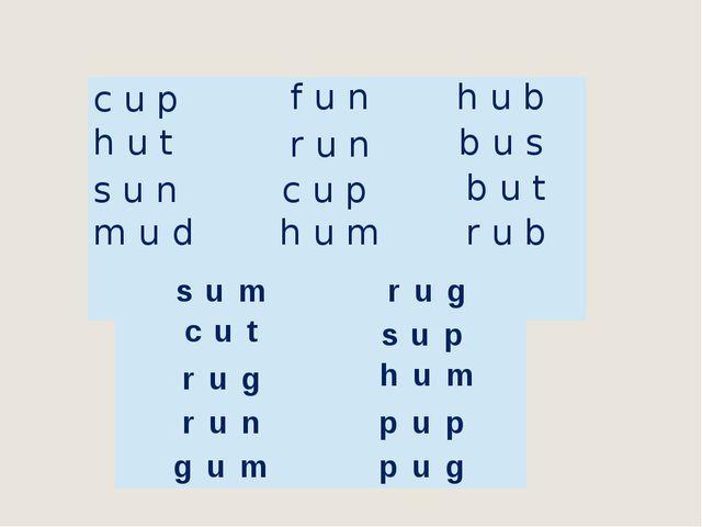 cup f u n h u b hut run b u s s u n cup but m u d h u m rub sum rug cut sup r...