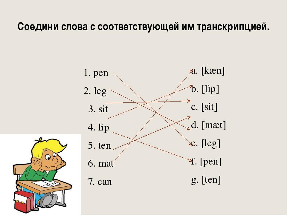 Соедини слова с соответствующей им транскрипцией. 1. pen 2. leg 3. sit 4. lip...