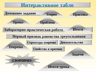 Теорема Лабораторно-практическая работа Первый признак равенства треугольнико