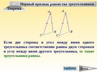 Первый признак равенства треугольников. Теорема Если две стороны и угол между