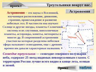Треугольники вокруг нас. проект Астрономия Астрономия – это наука о Вселенной
