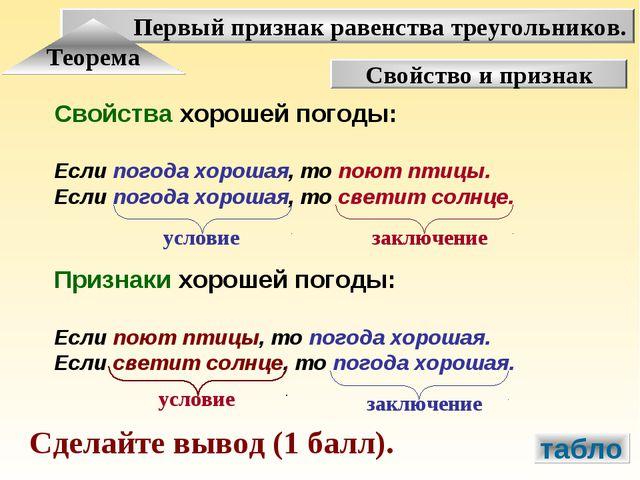 Первый признак равенства треугольников. Теорема Свойство и признак Свойства х...