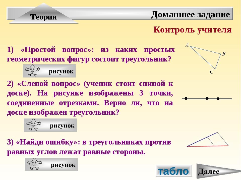 табло Домашнее задание Теория 2) «Слепой вопрос» (ученик стоит спиной к доске...