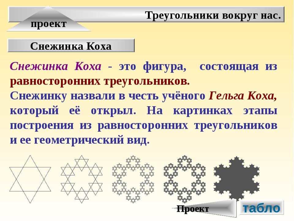 Треугольники вокруг нас. проект Снежинка Коха Снежинка Коха - это фигура, сос...