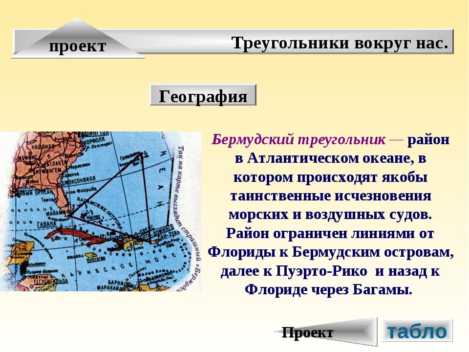 Треугольники вокруг нас. проект География Бермудский треугольник — район в Ат...
