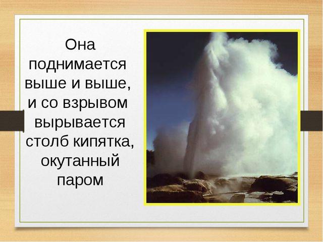 Она поднимается выше и выше, и со взрывом вырывается столб кипятка, окутанный...