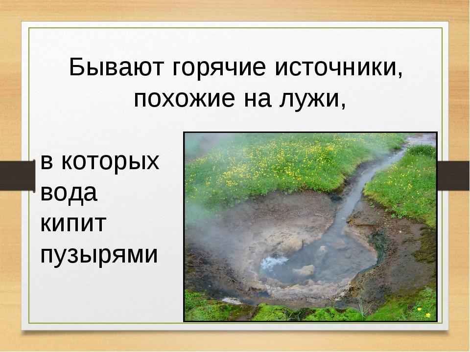 Бывают горячие источники, похожие на лужи, в которых вода кипит пузырями