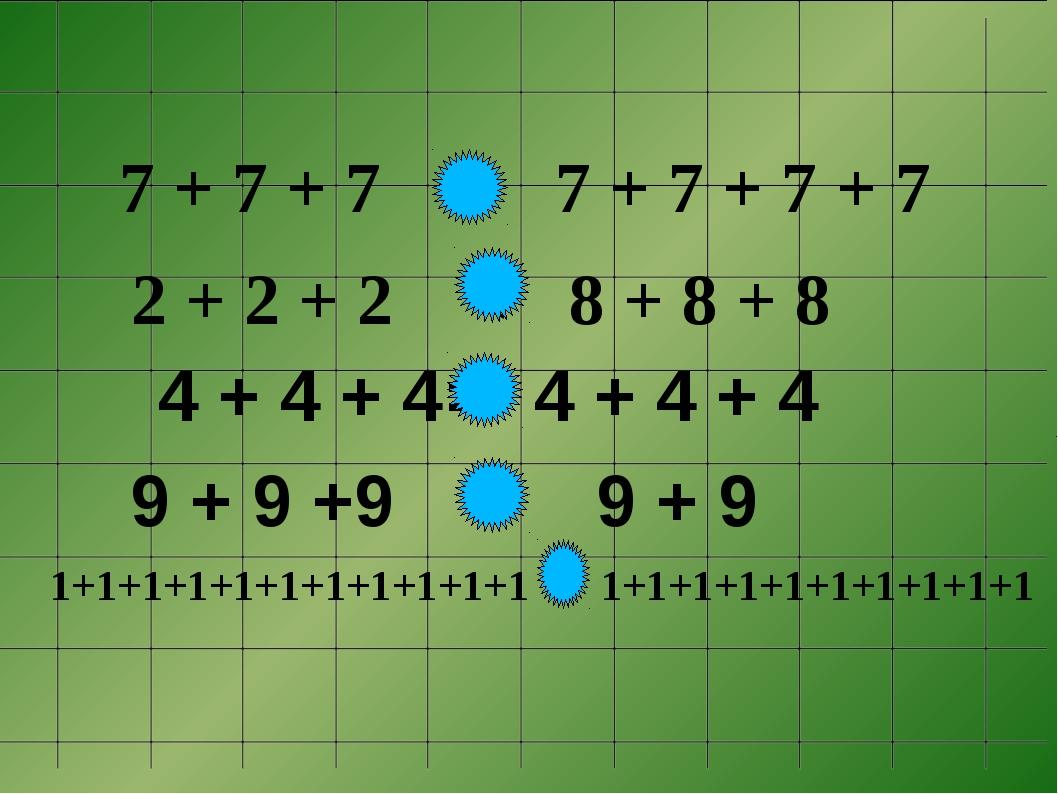 9 + 9 +9 > 9 + 9 7 + 7 + 7 < 7 + 7 + 7 + 7 2 + 2 + 2< 8 + 8 + 8 4 + 4 + 4...