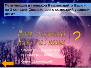 9-3=6 (с.) – увидел Вася 2) 9+6=15 (с.) – всего Ответ: 15 созвездий.