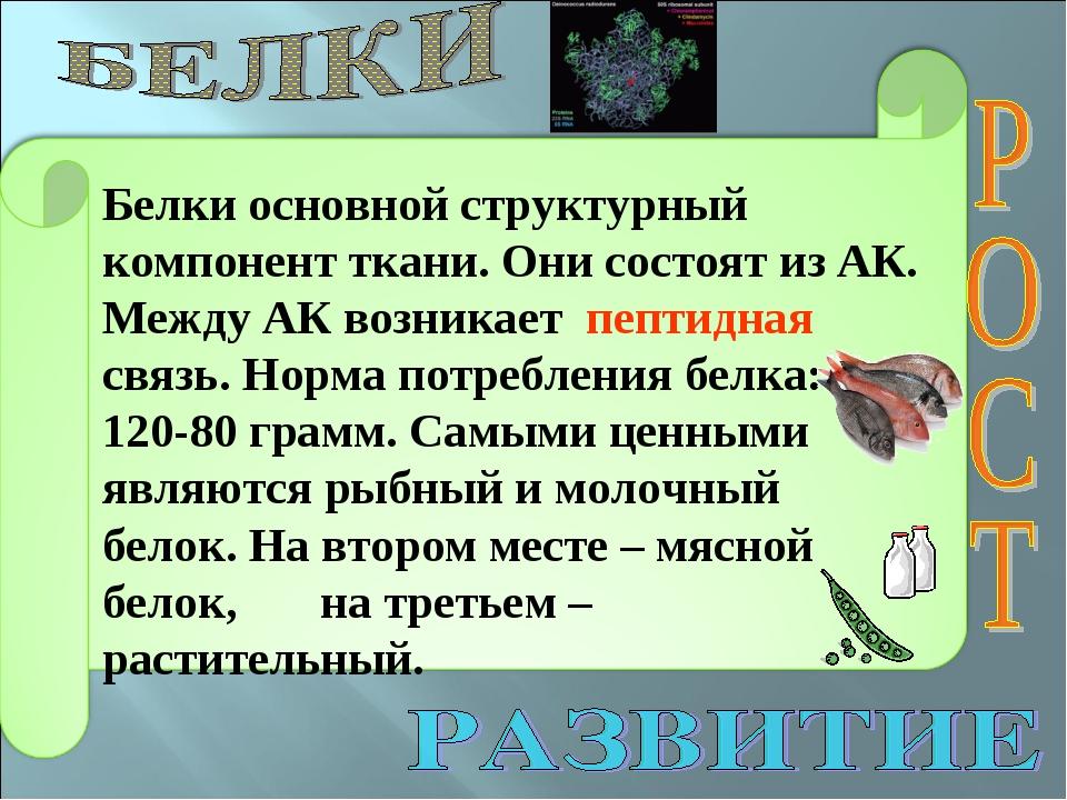 Белки основной структурный компонент ткани. Они состоят из АК. Между АК возни...