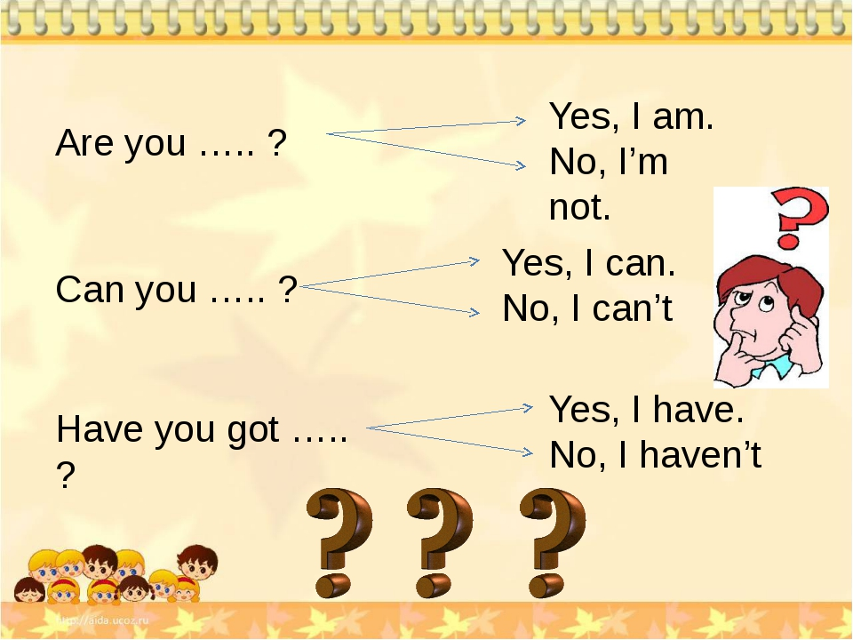 Are you ….. ? Yes, I am. No, I'm not. Can you ….. ? Yes, I can. No, I can't H...