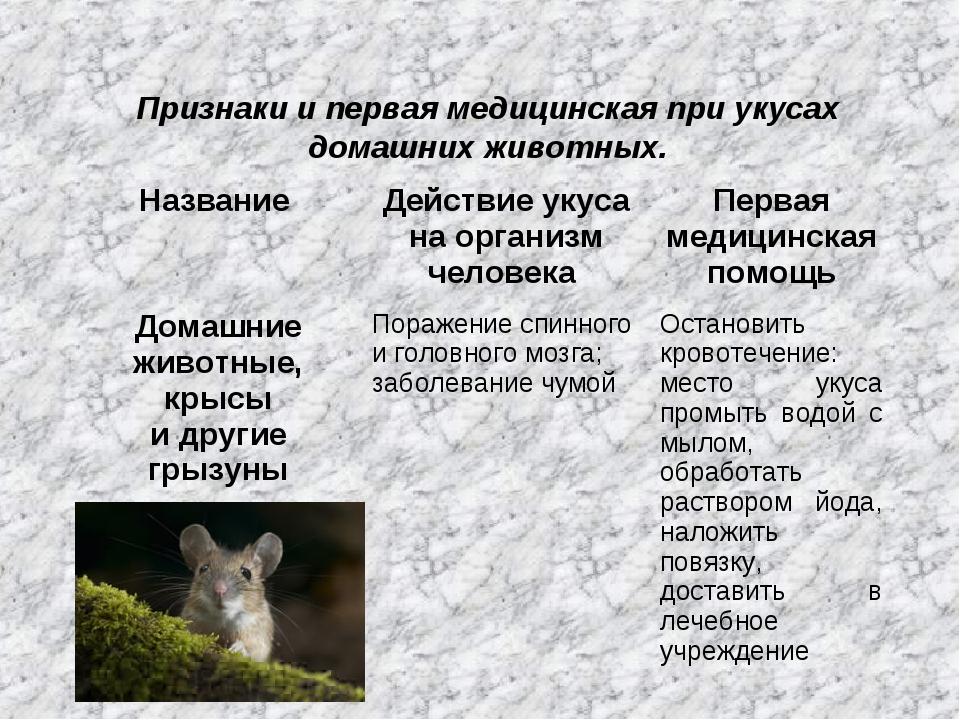 Признаки и первая медицинская при укусах домашних животных. Название Действи...