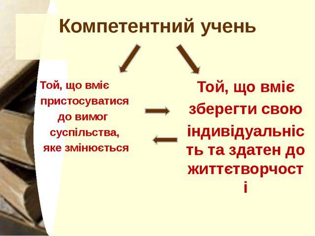 Компетентний учень Той, що вміє пристосуватися до вимог суспільства, яке змін...