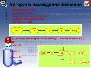 Алгоритм нахождения значения Ввести заданное число Прибавить к нему 4 Раздели