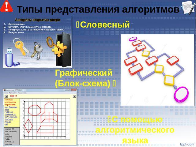 Типы представления алгоритмов Словесный С помощью алгоритмического языка Гр...