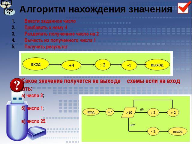 Алгоритм нахождения значения Ввести заданное число Прибавить к нему 4 Раздели...