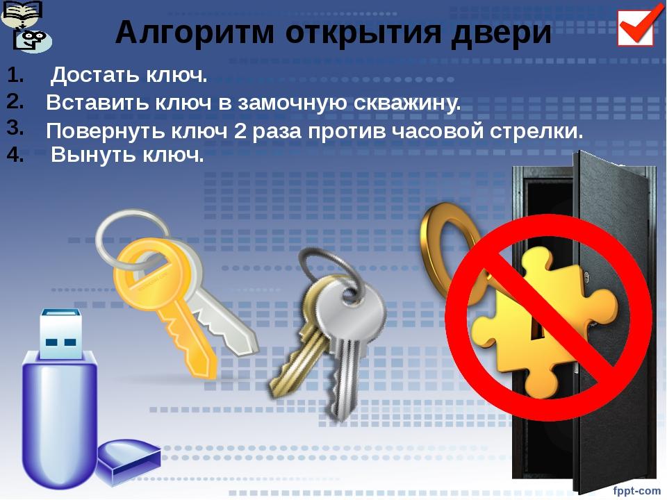 Достать ключ. Вынуть ключ. Алгоритм открытия двери Вставить ключ в замочную с...