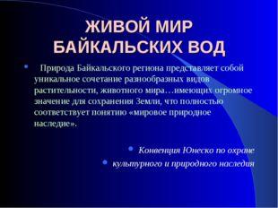 ЖИВОЙ МИР БАЙКАЛЬСКИХ ВОД Природа Байкальского региона представляет собой уни