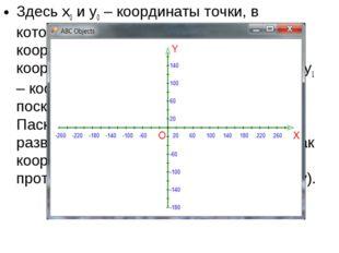 Здесь x0 и y0 – координаты точки, в которую мы хотим перенести начало координ