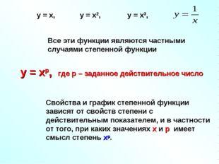 Все эти функции являются частными случаями степенной функции у = хр, где р –