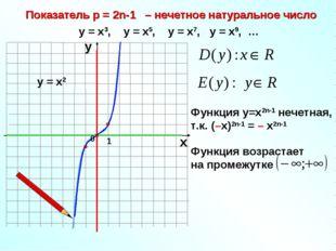 Показатель р = 2n-1 – нечетное натуральное число 1 х у у = х3, у = х5, у = х7