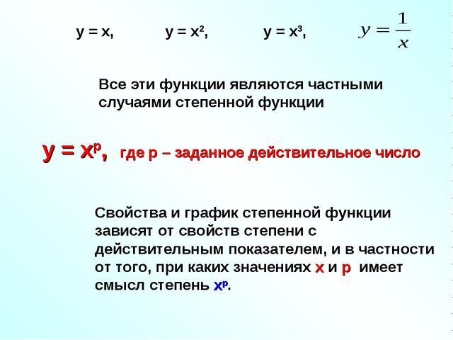 Все эти функции являются частными случаями степенной функции у = хр, где р –...