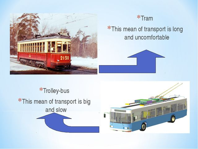 Tram This mean of transport is long and uncomfortable Trolley-bus This mean o...