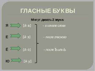 ГЛАСНЫЕ БУКВЫ Могут давать 2 звука: Я [й а] - в начале слова Е [й э] - после