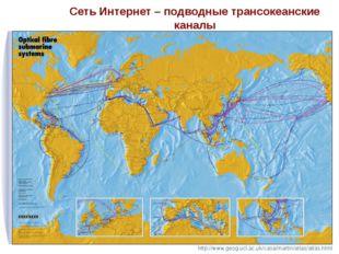 Сеть Интернет – подводные трансокеанские каналы http://www.geog.ucl.ac.uk/cas