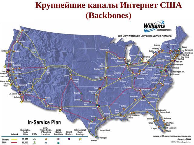 Крупнейшие каналы Интернет США (Backbones) Крупнейшие каналы Интернет США (Ba...