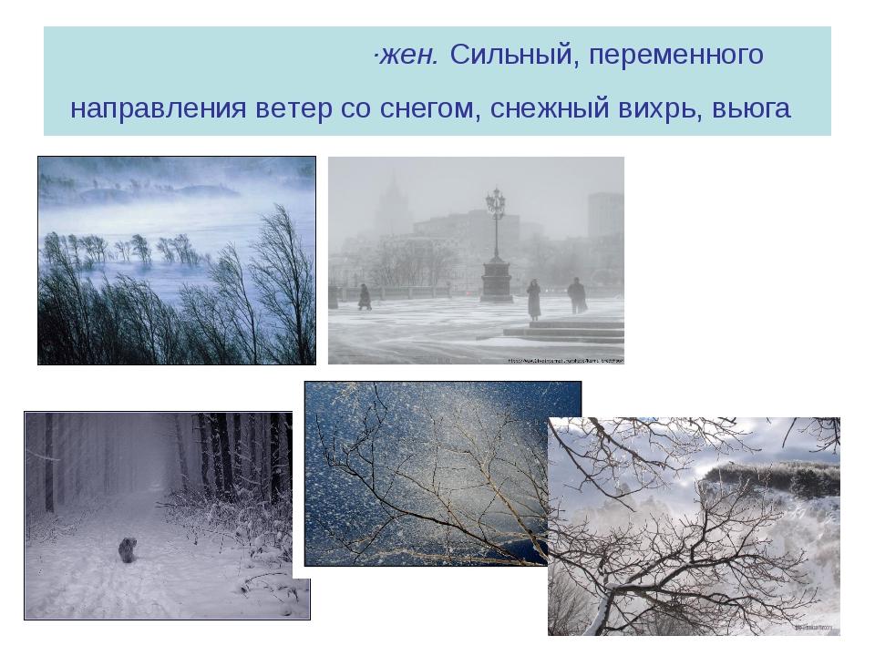 МЕТЕ́ЛЬ, метели, ·жен. Сильный, переменного направления ветер со снегом, снеж...