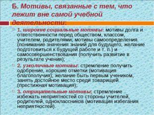 Б. Мотивы, связанные с тем, что лежит вне самой учебной деятельности: 1. шир