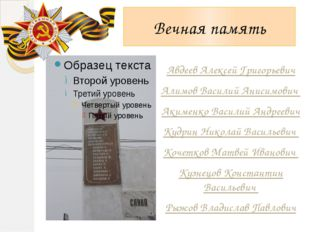 Вечная память Авдеев Алексей Григорьевич Алимов Василий Анисимович Акименко В