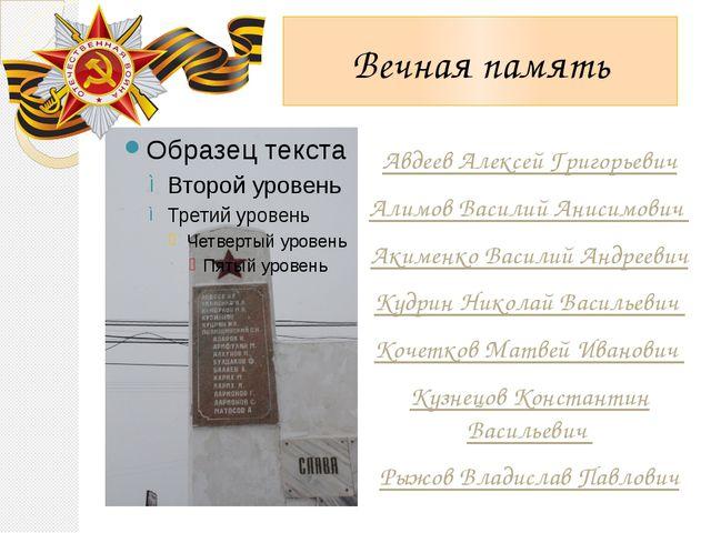 Вечная память Авдеев Алексей Григорьевич Алимов Василий Анисимович Акименко В...