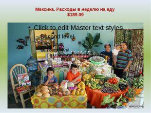 Мексика. Расходы в неделю на еду $189.09