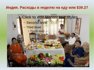 Индия. Расходы в неделю на еду или $39.27