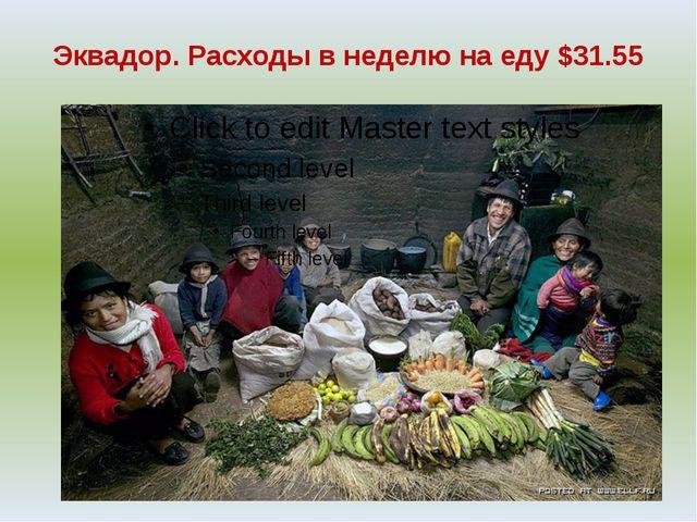Эквадор. Расходы в неделю на еду $31.55
