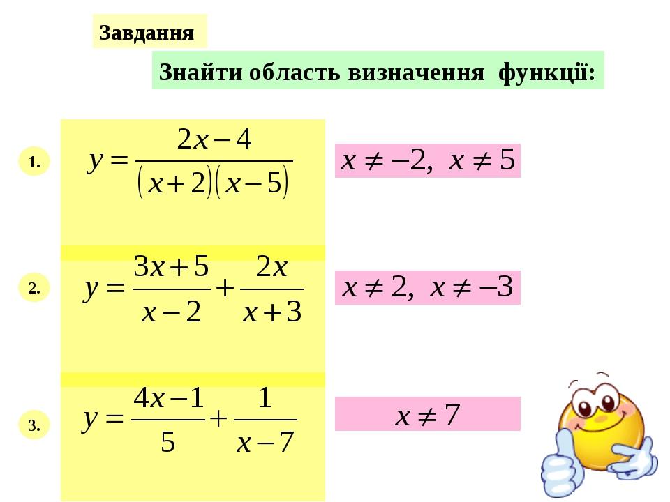 Завдання Знайти область визначення функції: 1. 2. 3.