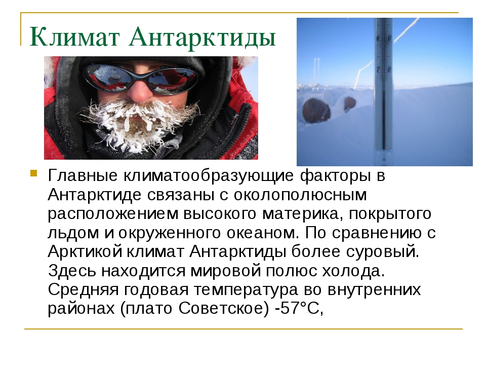 Климат Антарктиды Главные климатообразующие факторы в Антарктиде связаны с ок...