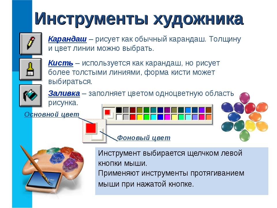 Инструменты художника Инструмент выбирается щелчком левой кнопки мыши. Примен...