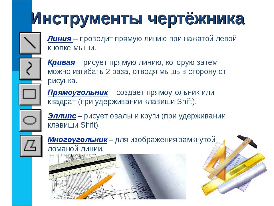Инструменты чертёжника Прямоугольник – создает прямоугольник или квадрат (при...