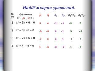 5 6 - 5 - 6 - 5 5 6 - 6 - 7 6 7 6 - 6 - 6 1 - 1 Найдём корни уравнений. - 2