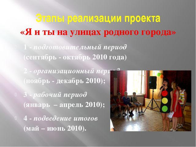 Этапы реализации проекта «Я и ты на улицах родного города» 1 - подготовительн...
