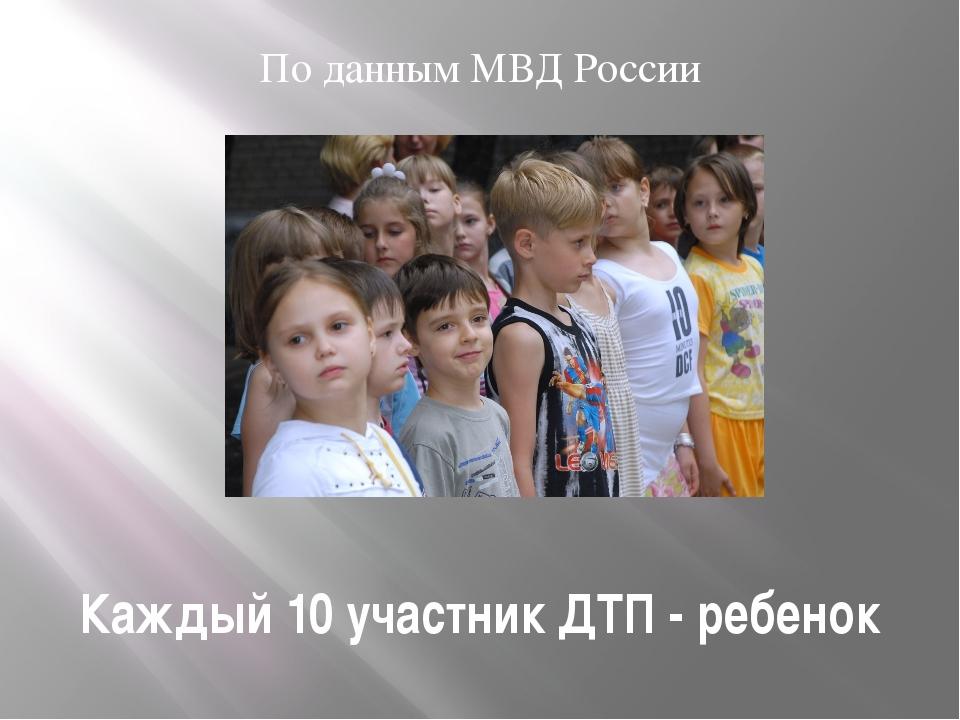 Каждый 10 участник ДТП - ребенок По данным МВД России