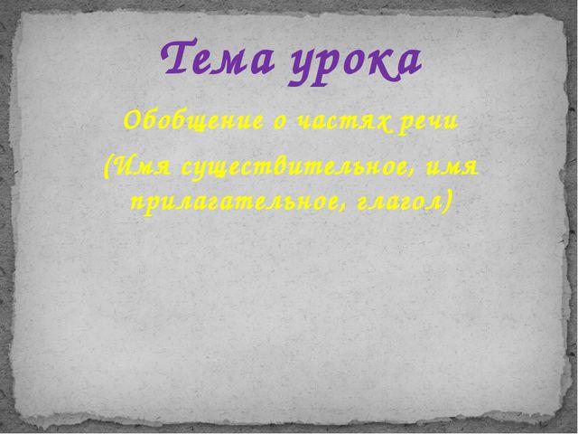Обобщение о частях речи (Имя существительное, имя прилагательное, глагол) Тем...