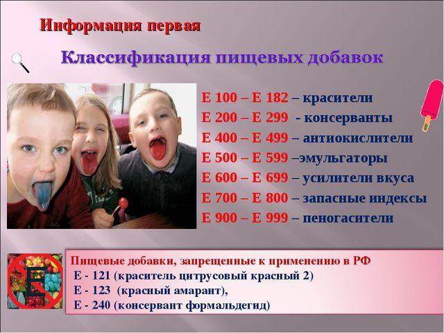 Е 100 – Е 182 – красители Е 200 – Е 299 - консерванты Е 400 – Е 499 – антиоки...