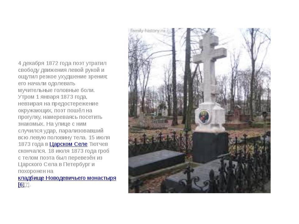 4 декабря 1872 года поэт утратил свободу движения левой рукой и ощутил резко...