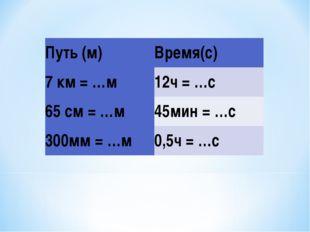 Путь (м)Время(с) 7 км = …м12ч = …с 65 см = …м45мин = …с 300мм = …м0,5ч = …с